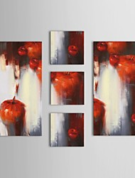Hand Painted Oil Painting Abstract Apple Art Painting with Stretched Frame Set of 5