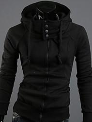 Manlodi Men's Solid Color Hooded Slim-Fitting Coat