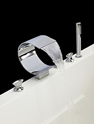 Contemporary Chrome Finish Five Holes Three Handles Waterfall Bathtub Faucet with Hand Shower
