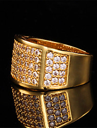 Men's Luxury Band Ring 18K Chunky Gold Plated  AAA+ CZ Stone Zirconia Cool Jewelry Gift for Men High Quality