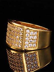 anel de banda de luxo 18k masculino ouro chapeado robusto aaa + cz pedra de zircônia de presente da jóia legal para os homens de alta qualidade