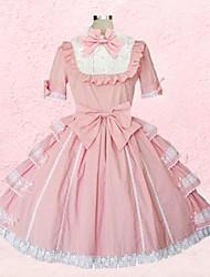 lieve dame korte mouw knie-lengte roze katoenen schoolgroep lolita jurk