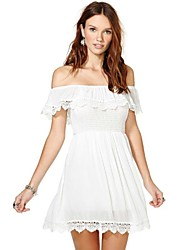 Women's Horizontal Neck Bardot Sleeves Lace Mini Dress