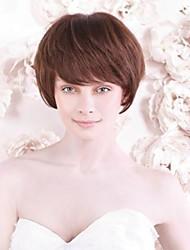 Capless Short Darkest Brown Human Hair Wigs