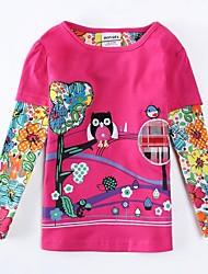 T-shirt col rond fleurs exquises de fille et broderie animale manches longues antumn hiver enfants tees impression aléatoire