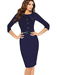 Dolce Women's Pan Collar Half Sleeve Pencil Dress