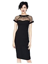 moda em torno do pescoço vestido de cor sólida das mulheres kyy