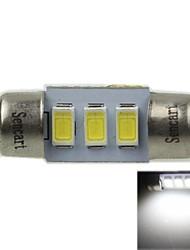 31 milímetros (sv8.5-8) 1.5W 3x5730smd 90-120lm 9000-10500k luz branca levou lâmpada para lâmpada de placa de carro (ac12-16v)