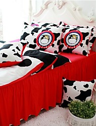 FADFAY@Cow Print Bedding Cute Kids Queen Size Cartoon Bedding Sets Red Ruffles Bed In A Bag  Queen