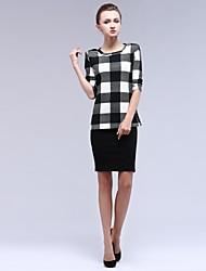 Women's Round Collar Plaid Suit (T-shirt&Skirt)