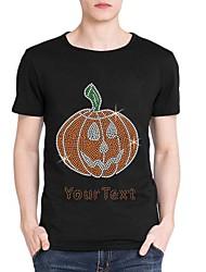 strass personalizado T-shirt do dia das bruxas padrão abóbora mangas curtas de algodão dos homens