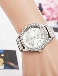 número roma moda femenina rhinestones reloj de pulsera de cuarzo correa de acero