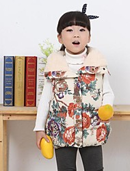 Girl's Blue / Beige Down & Cotton Padded / Vest Cotton Blend Winter / Fall