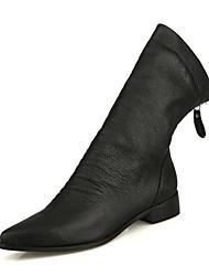 Zapatos de mujer - Tacón Bajo - Botas a la Moda - Botas - Casual - Lana - Negro