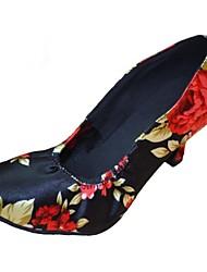 Non Customizable Women's Dance Shoes Modern Satin Stiletto Heel Black