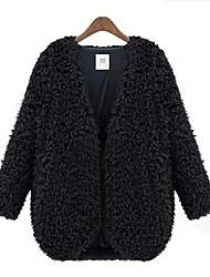 Women'S New Wool Fur Long Sleeve Coat