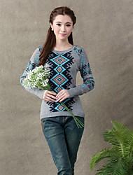 круглый воротник длинный рукав случайные пуловеры женские