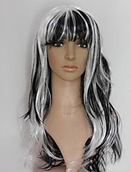 Black and White Long Curly Wavy Wig