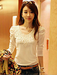 LYOU Women's Vintage/Sexy/Lace/Party/Work Round Long Sleeve T-Shirts (Lace/Polyester)