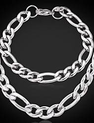 titânio aço u7® Figaro robusto pulseira colar de corrente conjunto de alta qualidade nunca desaparecer 9 milímetros 55 centímetros