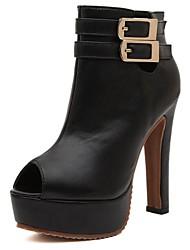 Chaussures femmes peep toe talon trapu bottines