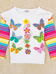 Girl's T shirt Butterfly Printed Rainbow Long Sleeve Kids Clothes Antumn Winter Children Tees Random Print
