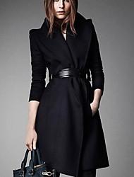 Jansa solapa de la moda abrigo de lana largo ™ de la mujer