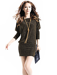 P&H Women's Fashion Batwing Sleeve Round Collar Bodycon Dress_B29 -8892 Screen Color