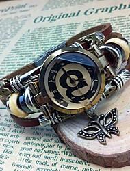 Women's Fashion High-grade Butterfly Pendant Leather Quartz Movement Bracelet Watches