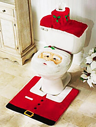 3 Piece Christmas Bathroom Accessory,1pc Toilet Seat 1pc Toilet Paper Holder 1pc Bath Mat