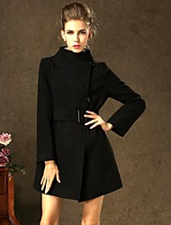 Women's Trench Coat,Solid Long Sleeve Winter Black Wool / Others Thick