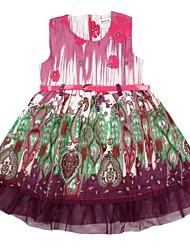 laço da menina para o dia de festa de natal princesa sem mangas vestidos de impressão aleatória
