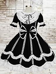 doce senhora manga na altura do joelho de algodão preto curto escola vestido lolita