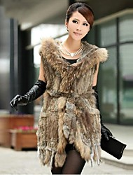 Women's Authentic Knitted Rabbit Fur Long Vest With Raccoon Fur Collar With Hood