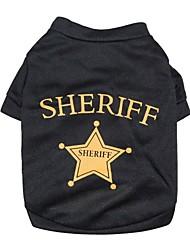 Gatos / Perros Camiseta Negro Ropa para Perro Primavera/Otoño Estrellas / Letra y Número