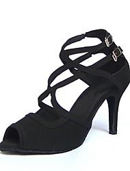 Non Customizable Women's Dance Shoes Latin Suede Stiletto Heel Black/Red