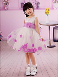 White Round Neck Short Sleeves First Communion Dress Romantic Flower Petals