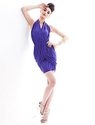 sexy vestido sin espalda plisada de cuello halter asimétrico de las mujeres joannekitten®