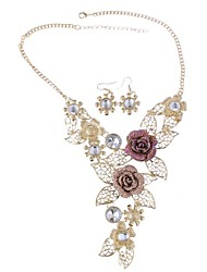 Women's Vintage Alloy Cut Out Flower Jewelry Sets Including Necklace&Earring