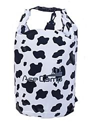 outdoor camping waterdicht koe patroon droge tas met schouderriem 47x21cm (10l) zwart met witte