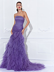 Mermaid / Trumpet Strapless Court Train Tulle Prom Formal Evening Dress with Criss Cross Ruching Cascading Ruffles by TS Couture®