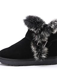 botas de couro de vaca térmicas curta das mulheres com foxfeather