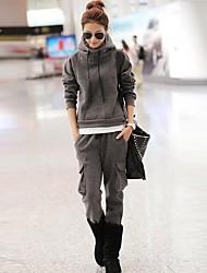 Women's Hoodie Casual Back Zipper Cotton Loose Suits(Hoodie&Pants)