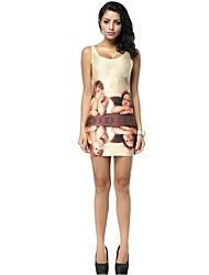 Women's Multi-color Dress , Bodycon/Casual Sleeveless