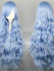 Light Blue Sexy Wavy Long Synthetic Hair Party Cosplay Wig for Yong Lady