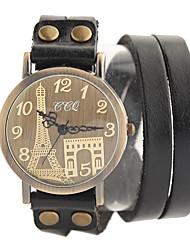 cuir de vache montre vintage (noir)