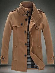Men's Pure Color Collar Fur Coat