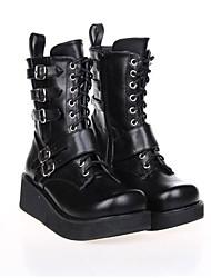 PU de cuero zapatos 6cm lolita punk de plataforma negras