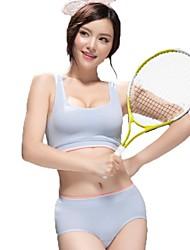 Damen Basic nahtlose komfortable drahtlose Racerback Sport-BH-Set