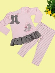 Girl's Bow Pink Long Sleeves T-shirt + Stripes Trousers for Spring Autumn